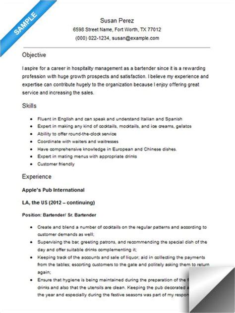 bartender resume sample resume examples sample resume