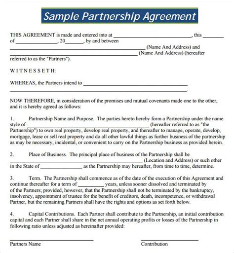 partnership agreement  partnership agreement