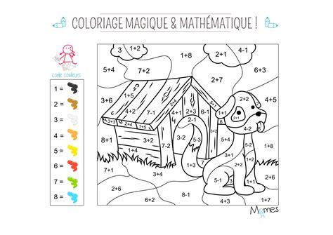 coloriage magique  mathematique le chien momesnet