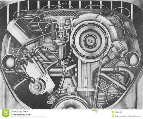 pencil sketch   vw engine stock photo image