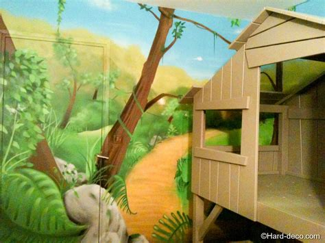 deco chambre jungle lit cabane avec décoration jungle deco