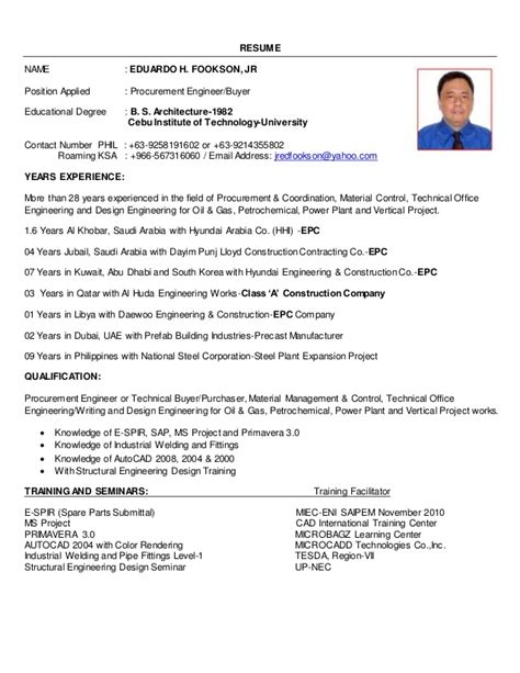 resume m2016 procurement engineer and buyer