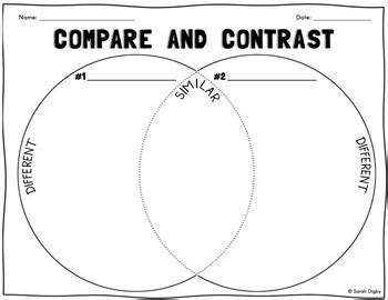 Venn Diagram Compare & Contrast Worksheet Tpt