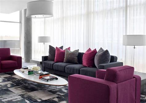 idee deco salon gris prune deco maison moderne