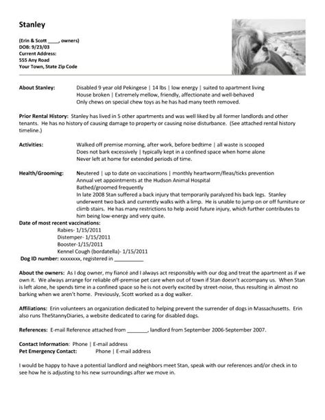 apartment renting create a pet resume