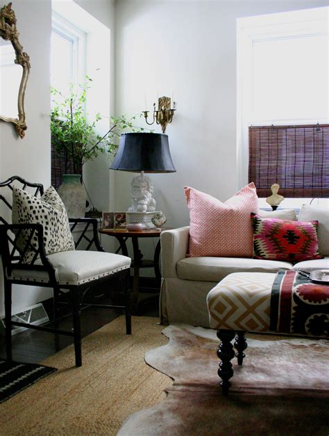 Accessories Pattern Ottoman With Beige Sofa And Cowhide