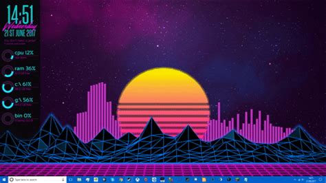 Hd Car Wallpapers For Desktop Imgur Gifs by 80s Outrun Synthwave Desktop Rainmeter
