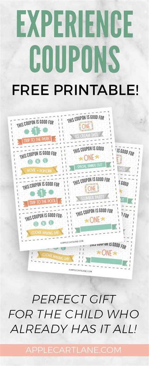 experience coupons  kids  printable diy gifts