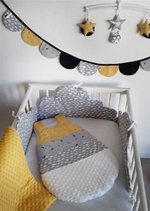 Tour De Lit Et Gigoteuse : tour de lit et gigoteuse nuage moutarde guili gribouilli linge de lit et de d co pour enfant ~ Teatrodelosmanantiales.com Idées de Décoration