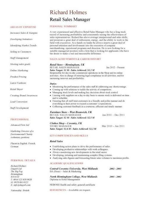 Retail Sales Manager Resume Sles by Retail Sales Manager Resume Retail Sales Manager Resume