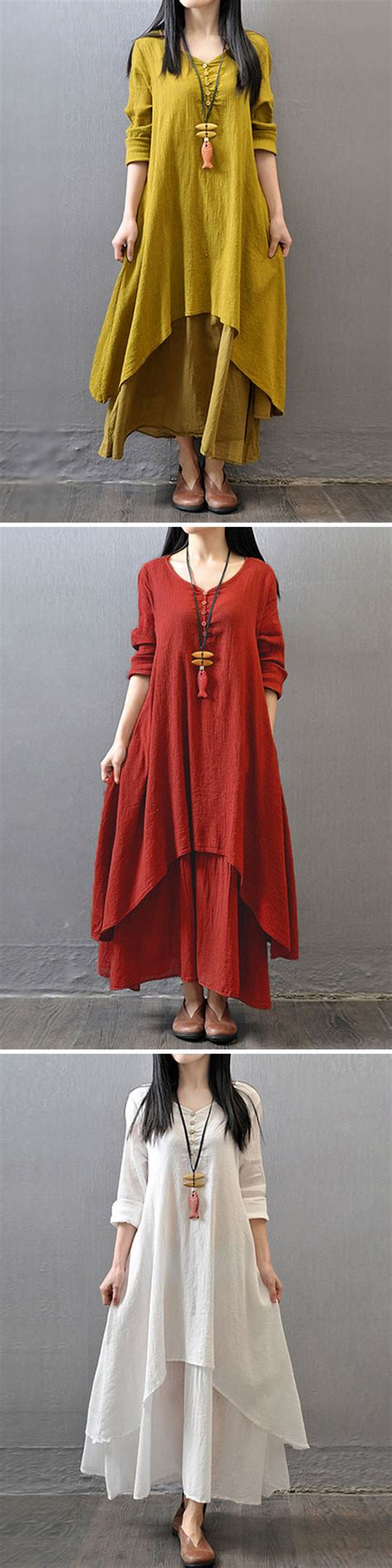 vintage clothing nc gracila vintage sleeve v neck irregular maxi 6788