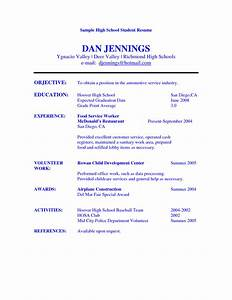 High school student resume objective examples sample for High school student resume objective