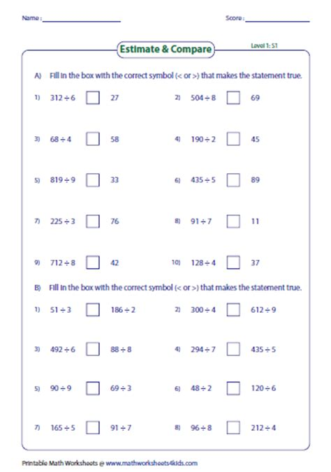 estimating products quotients worksheets