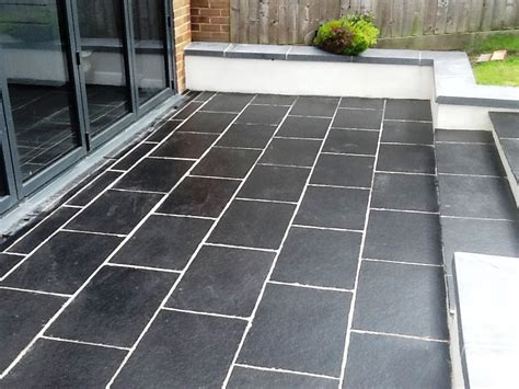 slate patio tiles treated for grout and sealed in