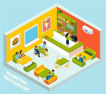 Restaurant Isometric Bar Poster Vector Interior Composition