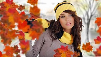 Woman Rain Leaf Autumn Posing Wallpapers Hdwallpapers87