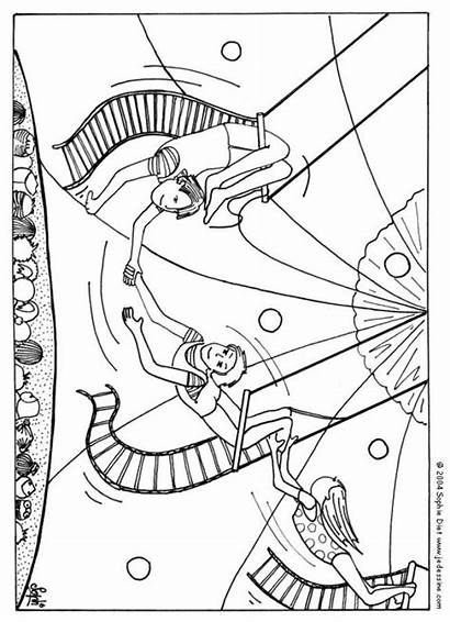Circus Coloring Pages Trapeze Artists Carnival Animals