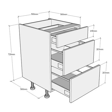fitted kitchen cabinets 500mm 3 drawer base unit 3755