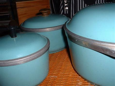 vintage club aluminum turquoise cookware set  angiescollectibles