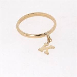 14k gold initial ring personalized letter dangle charm With ring letter