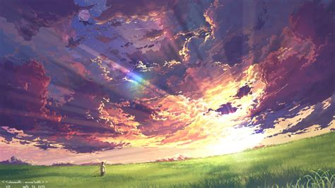 Anime Sunset Wallpaper Hd - anime clouds sky sunset sun rays field wallpapers hd