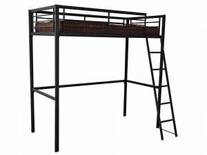 Lit Metal 90x190 : lit mezzanine 90x190 cm terri 2 coloris noir vente de lit enfant conforama ~ Teatrodelosmanantiales.com Idées de Décoration