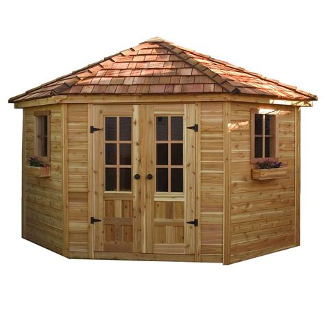 outdoor sheds home depot outdoor living today 9 ft x 9 ft penthouse cedar garden