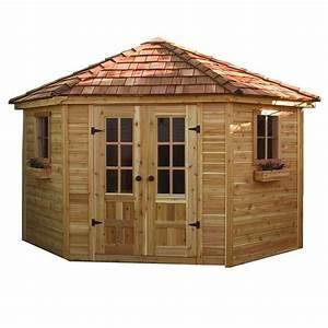 Outdoor living today 9 ft x 9 ft penthouse cedar garden for Home depot garden sheds