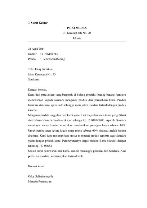 List Barang Elektronik Surat Penawaran by Contoh Surat Masuk Dan Surat Keluar