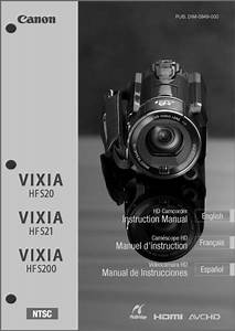 Canon Vixia Hf S20  S21  S200 Camcorder User Instruction