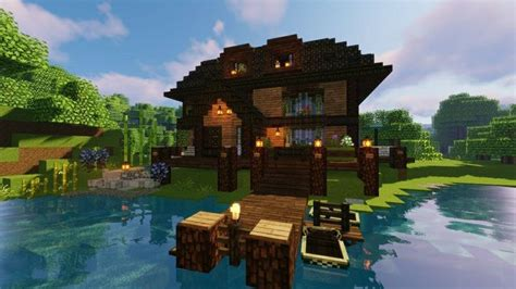 minecraft lakeside rustic cabin   rustic cabin minecraft houses house styles