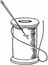 Sewing Clipart Clip Tattoo Thread Bobbin Needle Spools Scissors Inspiration Line Tape Cricut Measuring Measure sketch template