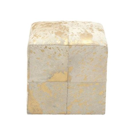 white and gold ottoman gold white wood leather hide ottoman free shipping today