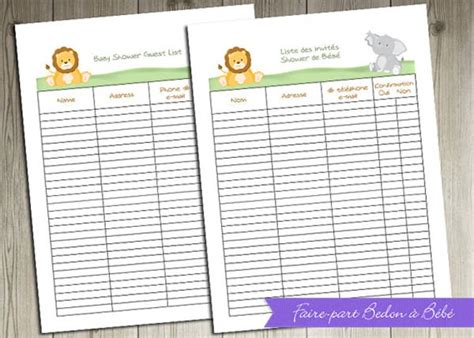 baby shower guest list template   word excel