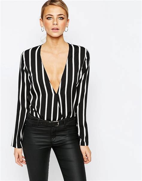 wrap front blouse boohoo boohoo stripe plunge wrap front blouse at asos