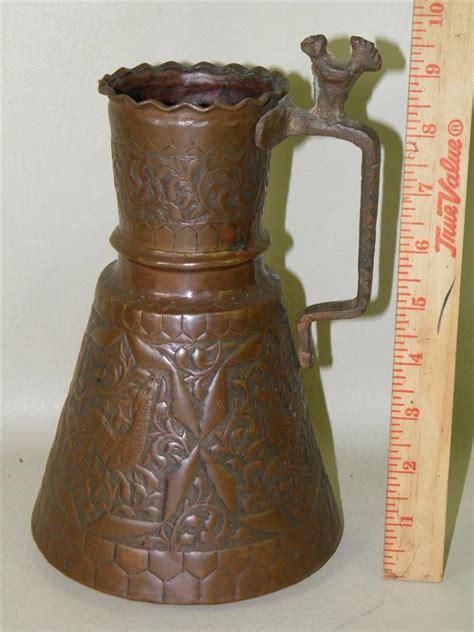 antique copper pitcher antique islamic figural deer ornate copper pitcher 1263