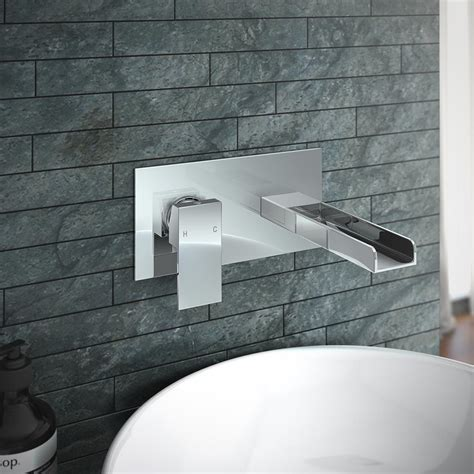 Plaza Waterfall Wall Mounted Basin Mixer   At Victorian