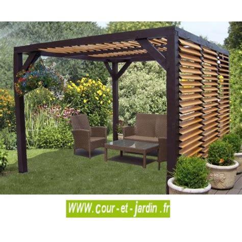 table de salon en bois pergola bois ou auvent bois veneto à ventelles tonnelle bois