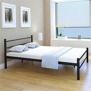 Lit 140 X 200 : acheter vidaxl cadre de lit m tal noir 140 x 200 cm pas cher ~ Teatrodelosmanantiales.com Idées de Décoration