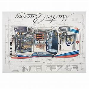 Diagram Of A Lancia 037 Gr8 Martini Racing Print By