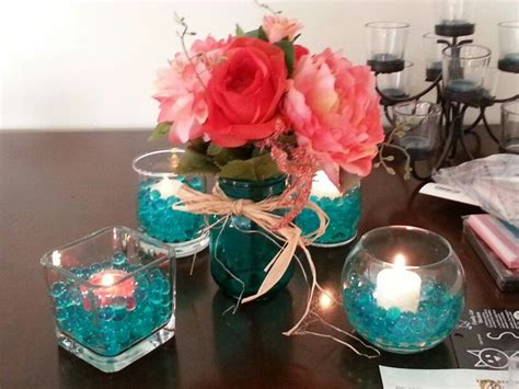 teal  coral centerpiece idea wedding ideas