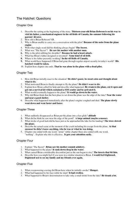Hatchet Essay by The Hatchet Question Sheet Answers Books Worth Reading