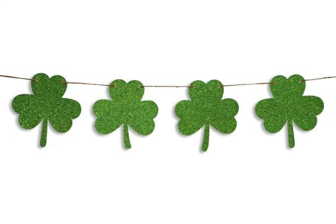 Shamrock Glitter Garland St Patricks Day Garland St
