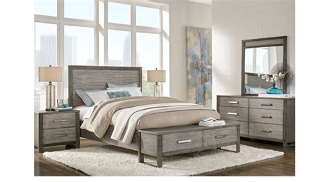 abbott gray  pc king panel bedroom  storage