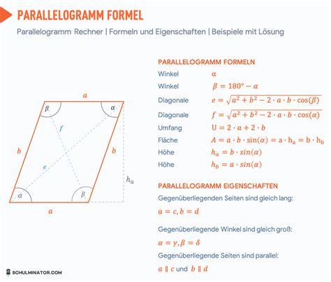 parallelogramm  berechnen flaecheninhalt umfang formel