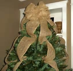 burlap christmas tree topper bow ready to ship full tree