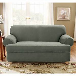 Sure Fit Stretch Suede Loveseat 2 Piece T Cushion