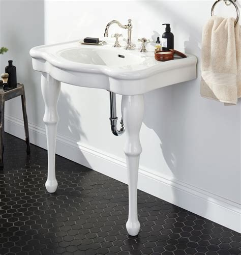 apothecary single sink console modern powder room
