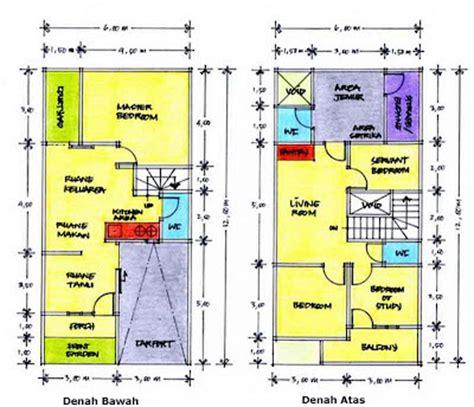 contoh denah rumah kopel kpr btn type  desain rumah