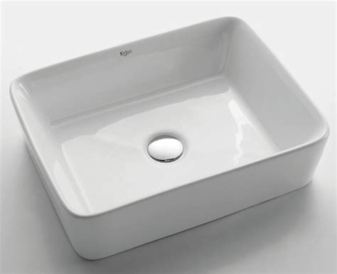 Kraus Kcv-white Rectangular Ceramic Sink-modern